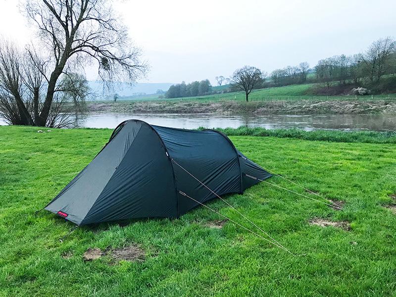 Aufgebautes Zelt