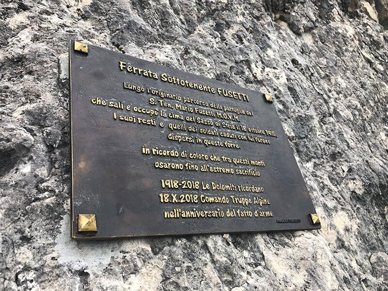 Gedenkplakette Leutnants Mario Fusetti