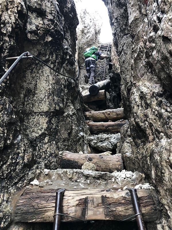 Leiterpassage kurz vorm Gipfel