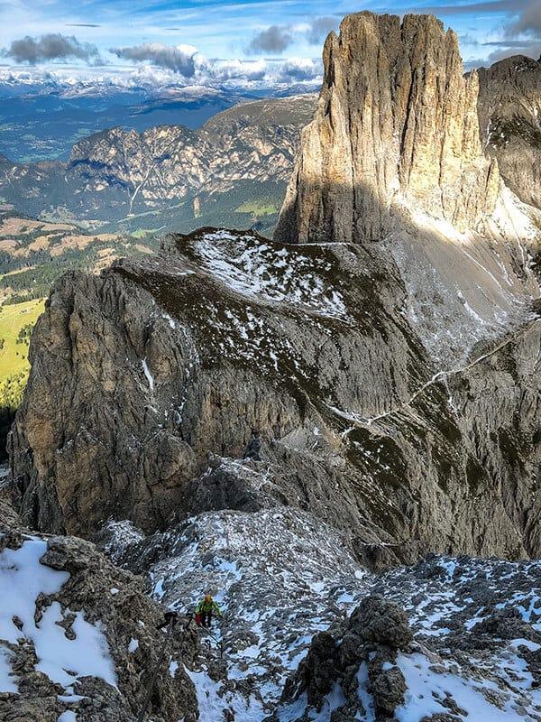 Blcik aus dem Klettersteig auf Vajolonpass und Tscheiner Spitze
