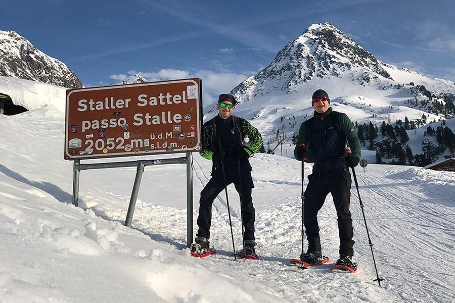 auf der ersten Schneeschuhtour am Staller Sattel
