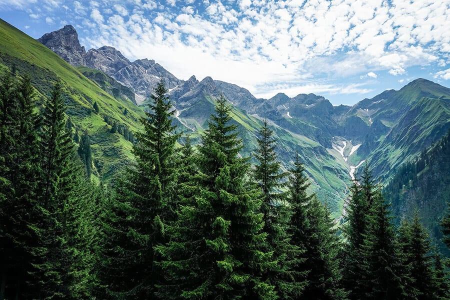 Blick in Bacherlochtal mit Trettachspitze und Mädelegabel